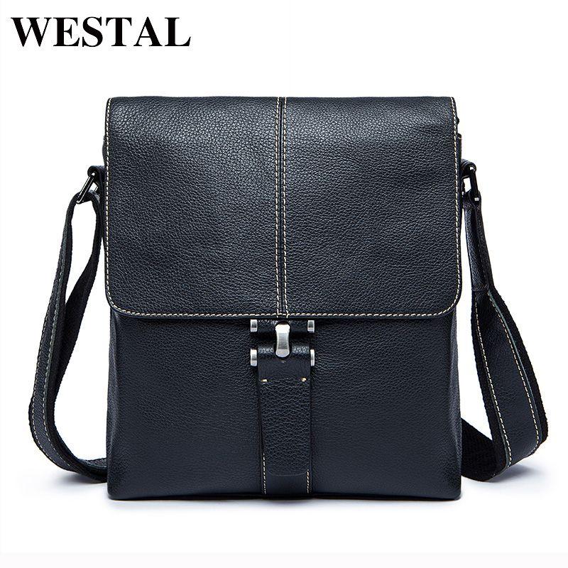 WESTAL Genuine Leather Men Bag Male Messenger Bags Men's Man Casual Shoulder Crossbody bags flap men's leather bag Handbag 8835