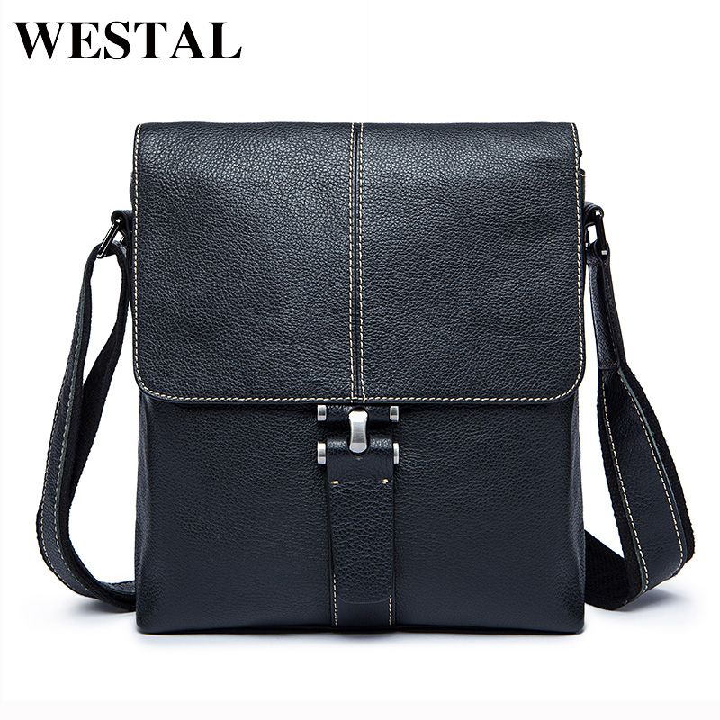 WESTAL Genuine Leather Men Bag Male Messenger Bags Men's Man Casual Shoulder Crossbody bags flap men's leather bag Handbag 8835