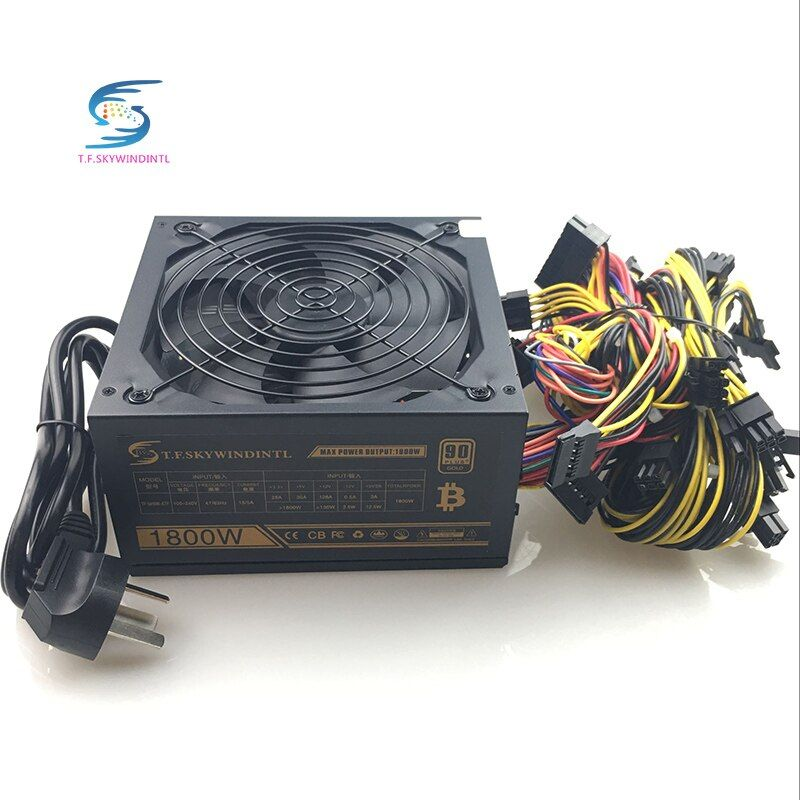 1800W pc Mining power Supply PSU 24pin for Bitcoin miner R9 380/390 RX 470/480 RX 570 1060 for antminer A6 A7 S5 S7 B3 C9 D3 E9