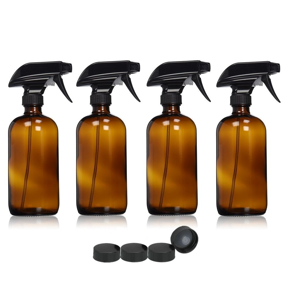 4pcs Large 16 Oz 500ml Empty Amber Glass Spray Bottle Containers w/ black trigger spray for essential oils cleaning aromatherapy