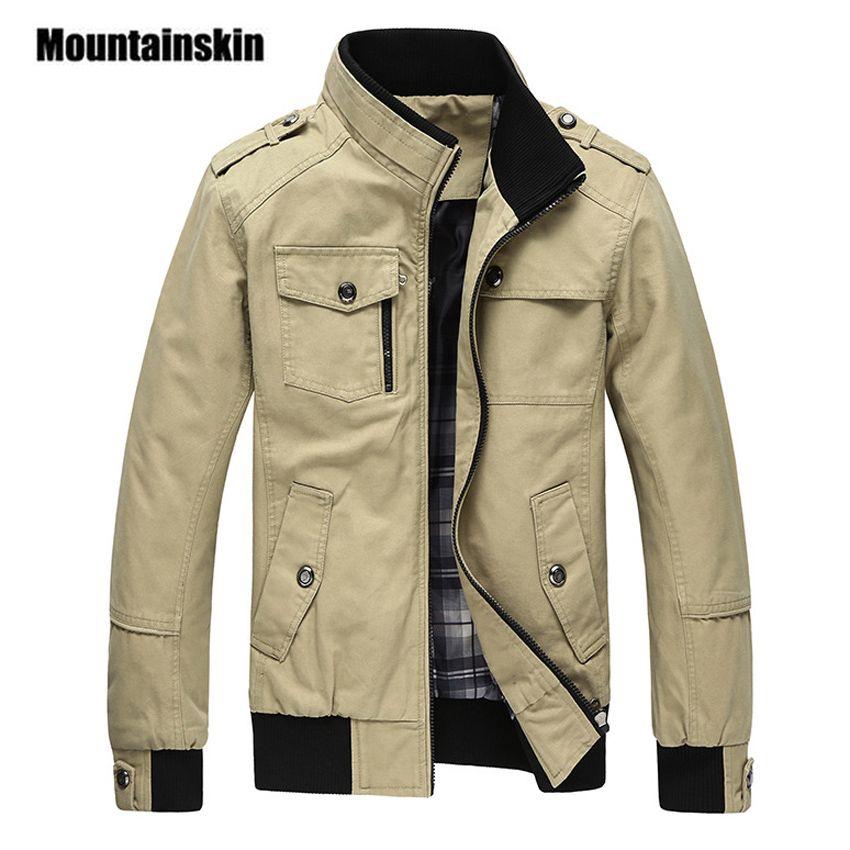 Mountainskin Casual Men's Jacket Spring Army Military Jacket Men Coats Winter Male Outerwear Autumn Overcoat Khaki 5XL EDA085