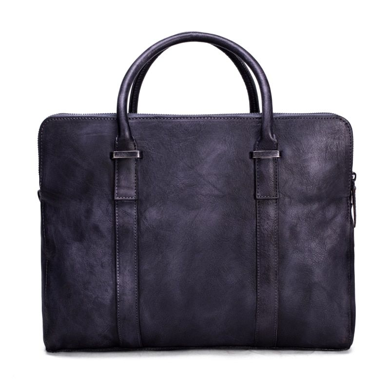 ROCKCOW Vintage Vegetable Tanned Leather Briefcase, Men Messenger Bag, Laptop Bag Dropshipping 9043