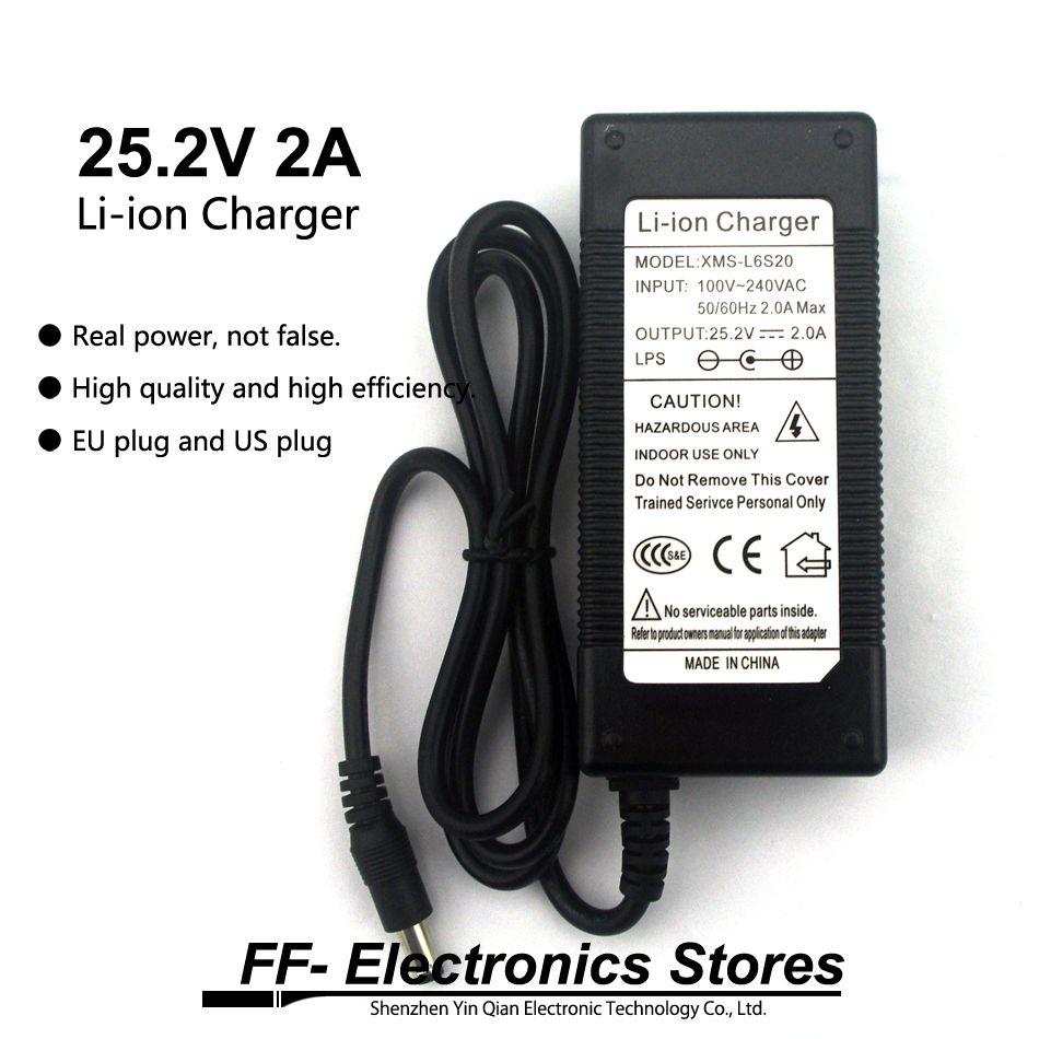 Echt 25,2 V 2A/24 V 2A Li-Ion Ladegerät AC 100-240 V Konverter Adapter Eu-stecker und us-stecker Für Li-Ion Akku.
