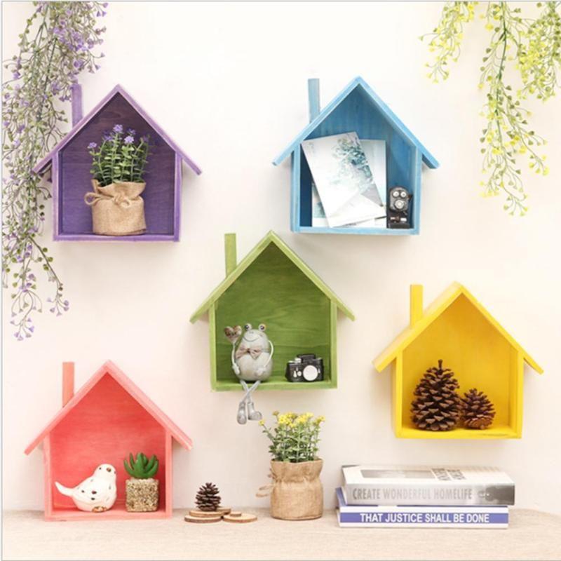 Creative rétro en bois maison mur étagères Titulaire Vivant chambre mur Décoration Boîte Suspendus Boîte En Bois De Stockage De Mur Crochet 25