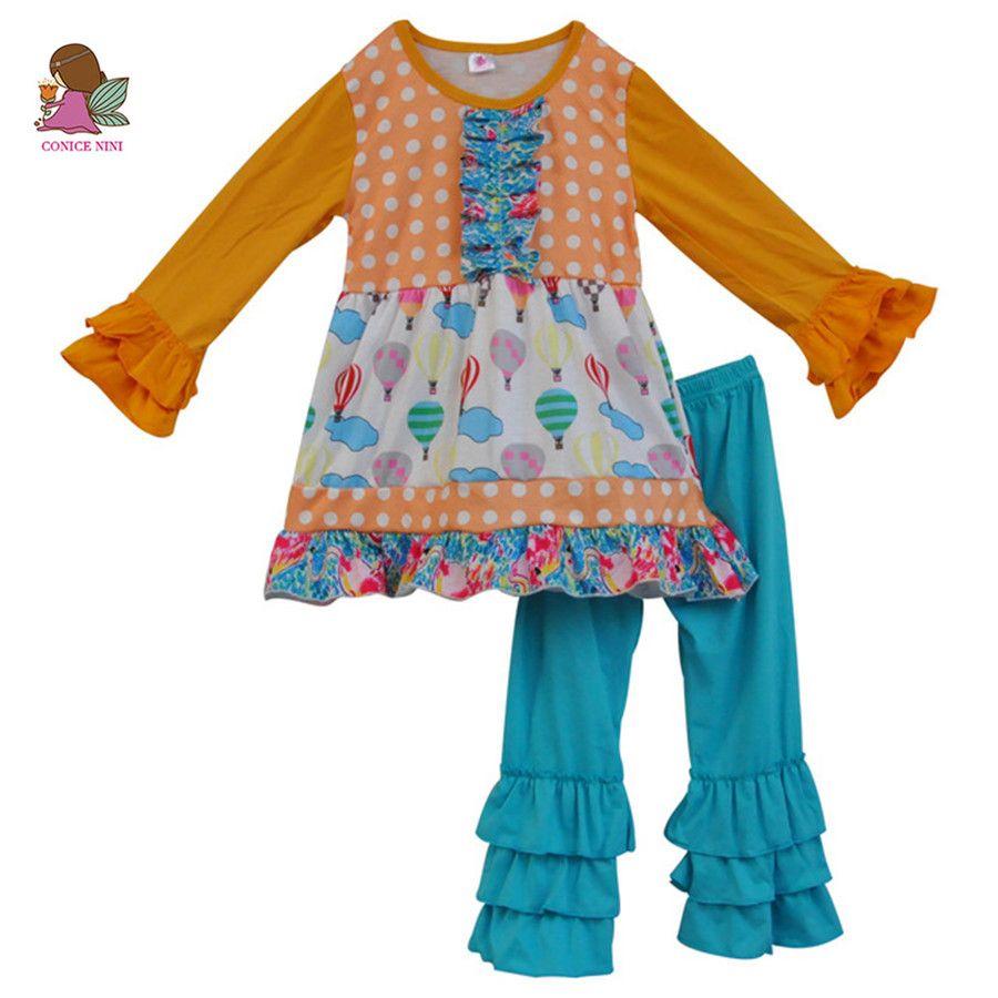Kleinkind Mädchen Outfits Baby Baumwolle Kleidung Kinder T-shirt Tops Infant Rüschen Hosen 2 STÜCKE Boutique Anzug kinderkleidung sets F101