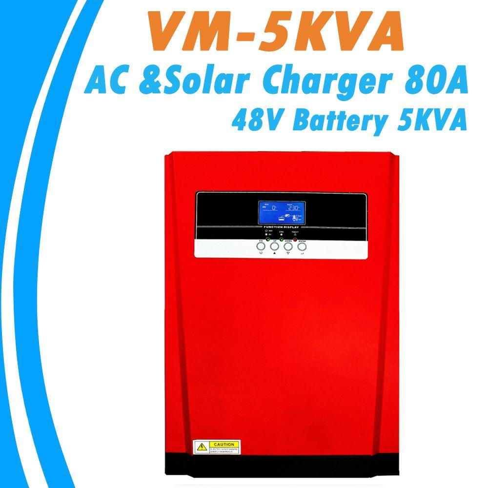 5000W Reine Sinus Welle Solar Hybrid Inverter MPPT 80A Solar Panel Ladegerät und AC Ladegerät Alle in Einem für max 4000W 500V Solar Eingang