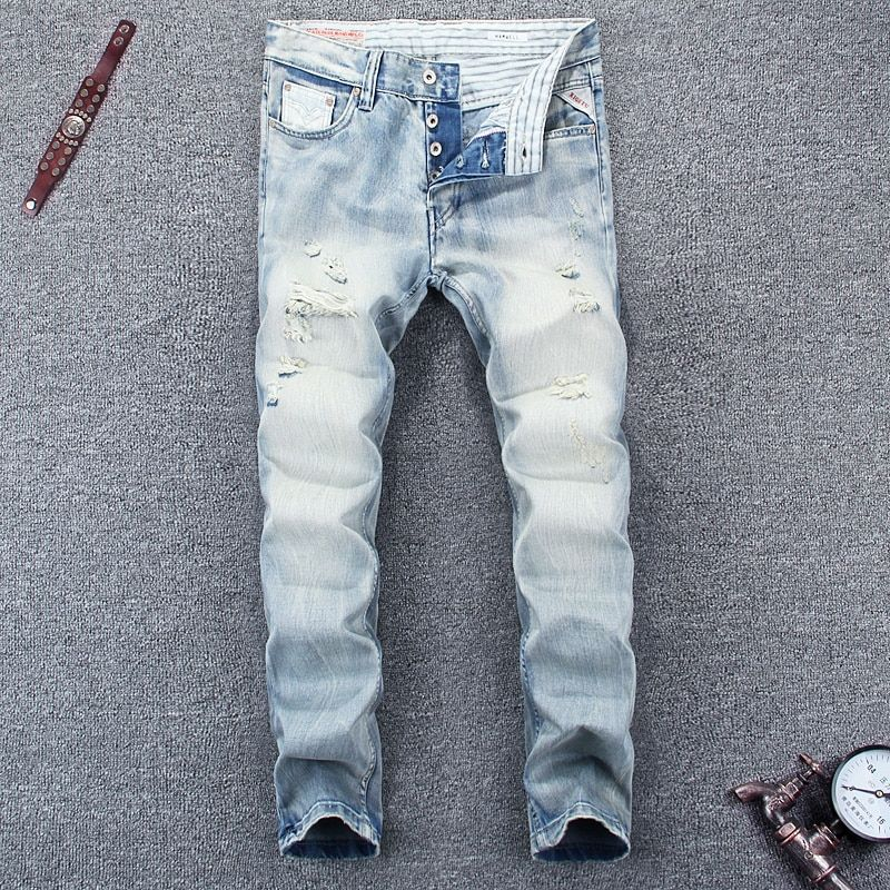 Italian Designer Men's Jeans High Quality Slim Fit Light Blue Color Summer Ripped Jeans Buttons Pants Brand Classical Jeans Men