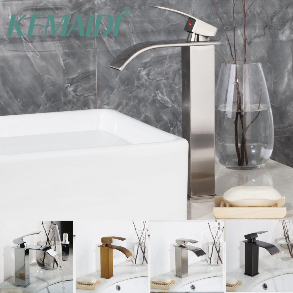 KEMAIDI Nickel Brushed Bathroom Basin Faucets Tap Mixer Black Waterfall Antique Brass Water Wash Basin Mixer Tap Faucet