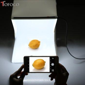TOFOCO 22.6 cm x 23 cm x 24 cm Portable Mini Photo Studio Box Photographie Boîte Toile de Fond intégré Lumière Photo boîte En Gros