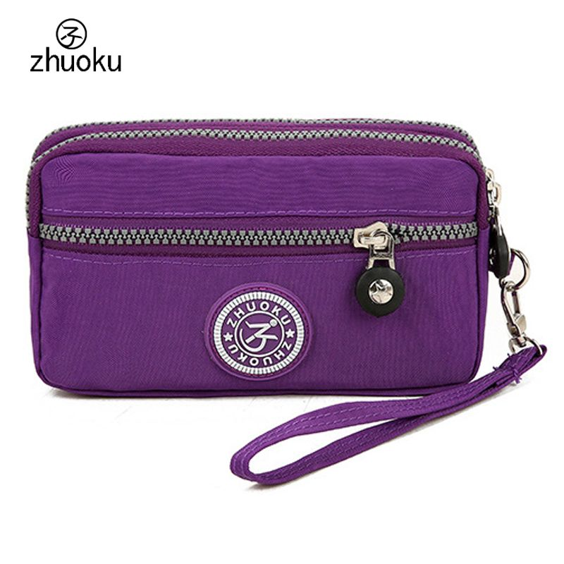 Two zippers coin purse 2017 Good quality nylon coin wallet monederos para mujer monedas porte monnaie Free shipping ZK104