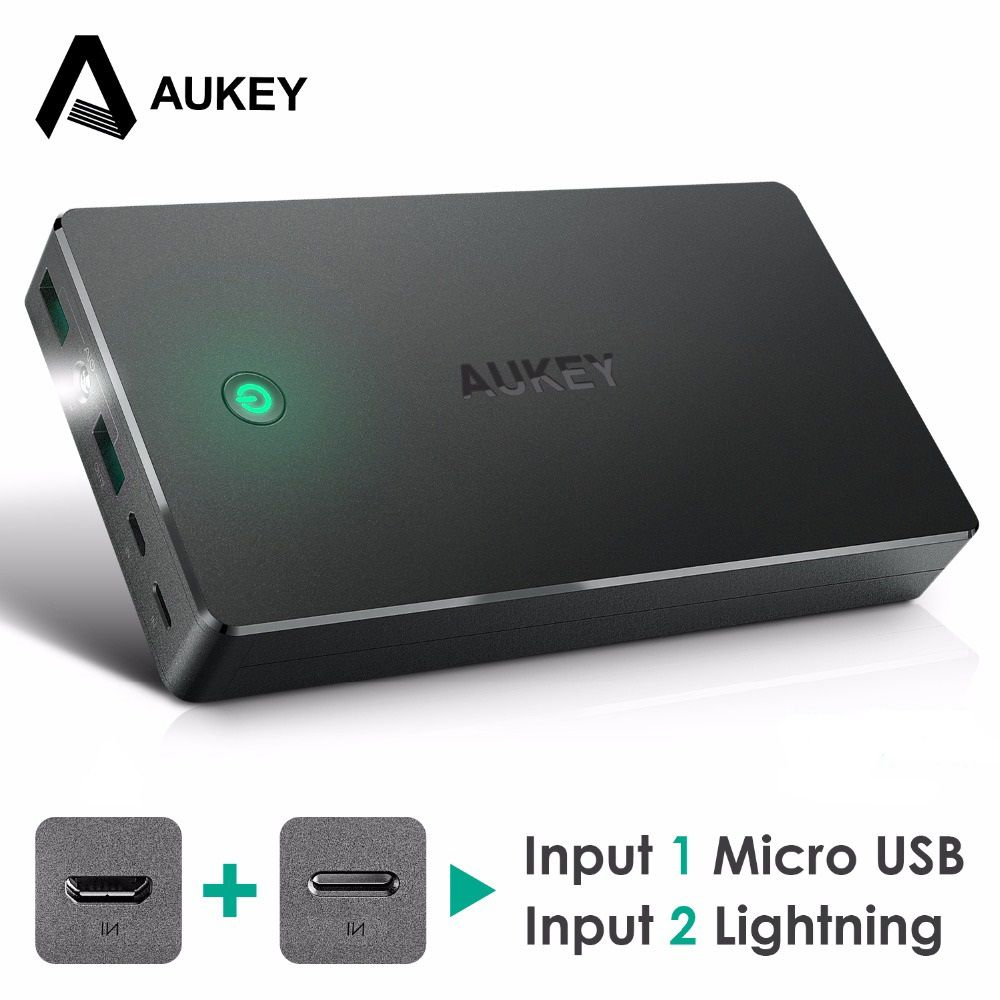 AUKEY 20000mah Power Bank External Battery Dual USB QC 2.0 Powerbank 20000mAh Portable Charger For iPhone 8 7 6s Redmi3 Samsung