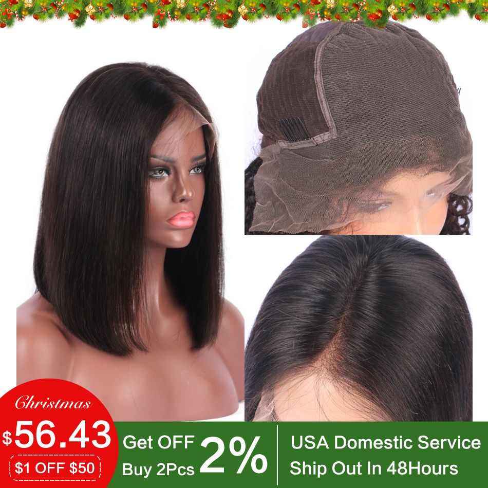 Luffy 13x6 Short Bob Cut <font><b>Human</b></font> Lace Front Wigs 150% PrePlucked Deep Part Frontal Peruvian Straight Black Non-remy Hair For Women