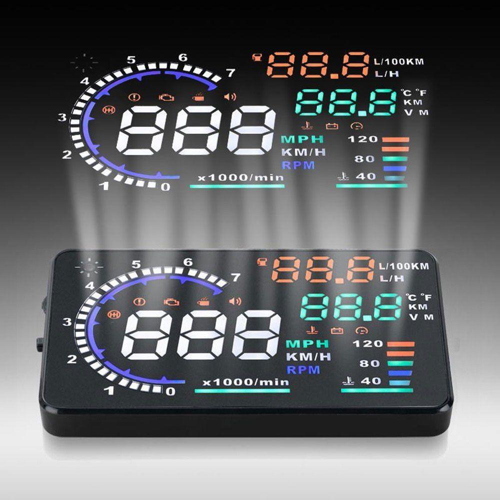 A8 Car HUD Head Up Display Fuel Consumption OBDII Car Driving Data Diagnosis Detector Overspeed Alert Alarm Windshield Projector