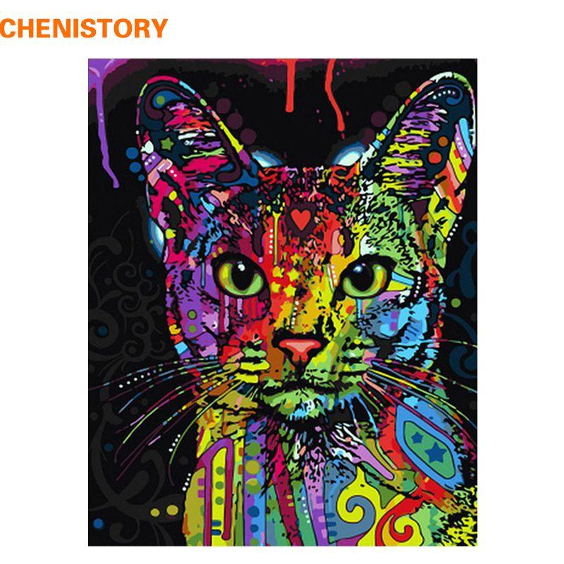 Chenistory bunte katze diy malerei by zahlen abstrakte moderne wandkunst bild kit färbung malerei by zahlen für wohnkultur