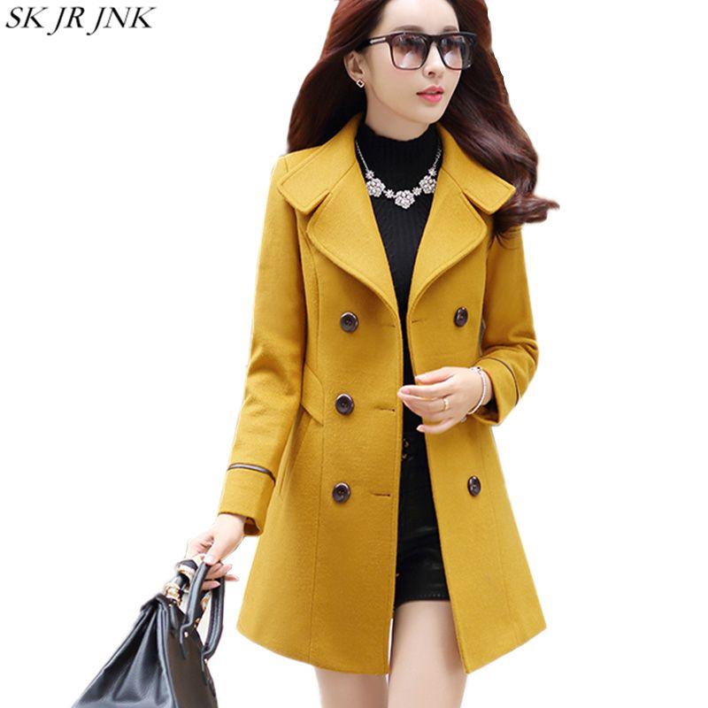 2018 New Women Autumn Winter Outerwear Wool Blend Warm Long Coat Slim Fit Lapel Woolen Overcoat Cashmere Female Plus Size WFY56