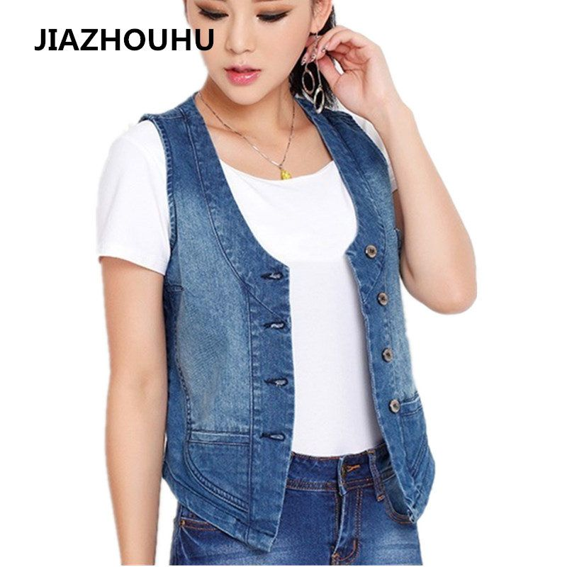 98% Cotton 2017 Summer Spring Female Sleeveless Jacket Large Size S-5XL Women's Denim Vest Coat Slim Vests Women Short Waistcoat