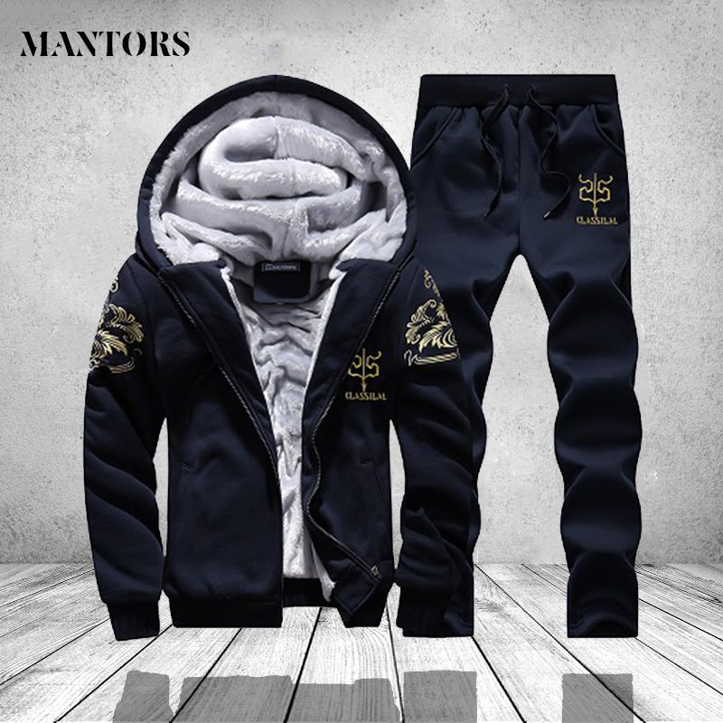 Men's Sportswear Casual Winter Warm Hooded Tracksuit Men Two Piece Sets Suit with Hood 2PC Fleece Thick Jacket + Pants Male 4XL