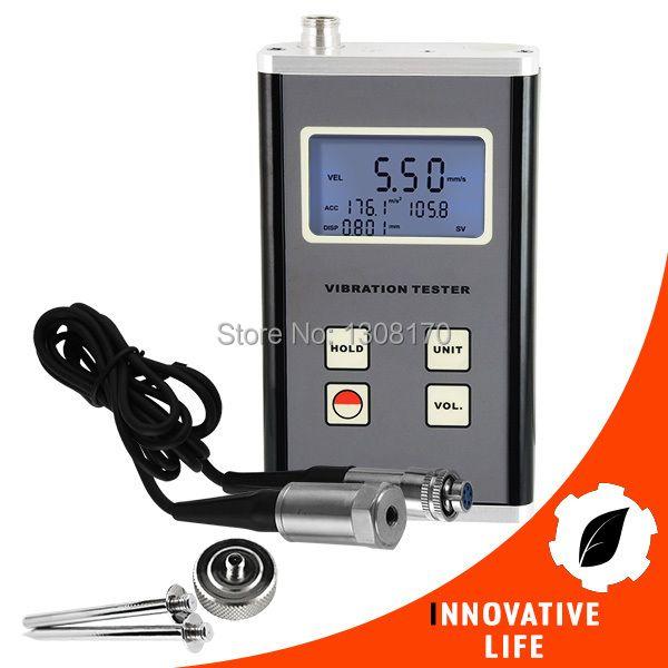 Digital 10Hz~10kHz Range Vibration Meter Piezoelectric Transducer Sensor Displacement Velocity Acceleration Tester