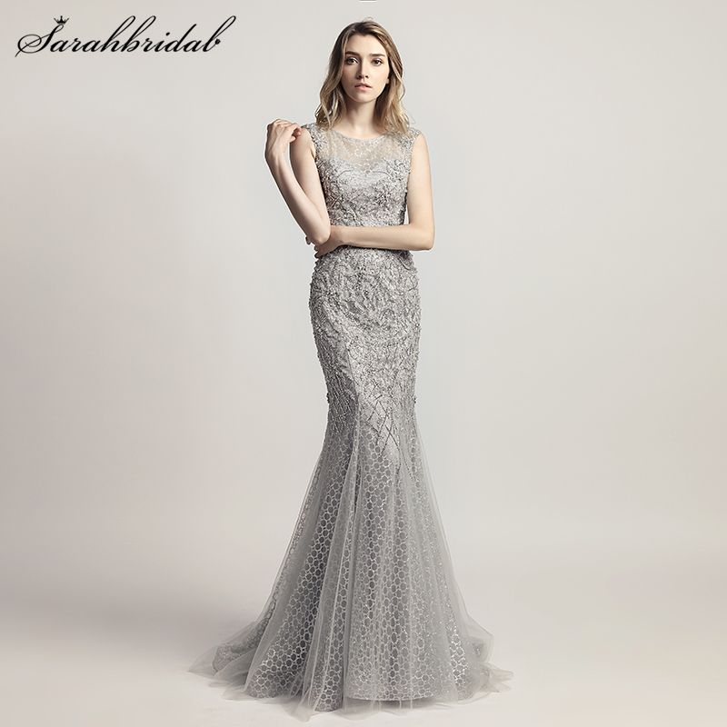 Robe De Soiree 2018 New Arrivals Sexy Lace Mermaid Floor Length Formal Evening Dresses Crystal Beaded Vestido De Festa LSX445