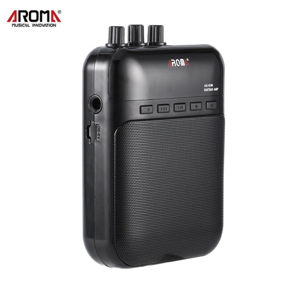 Aroma AG-03M 5W Portable Electric Guitar Bass Amp Multifunction Amplifier Recorder USB Rechargeable Speaker Guitar Accessories