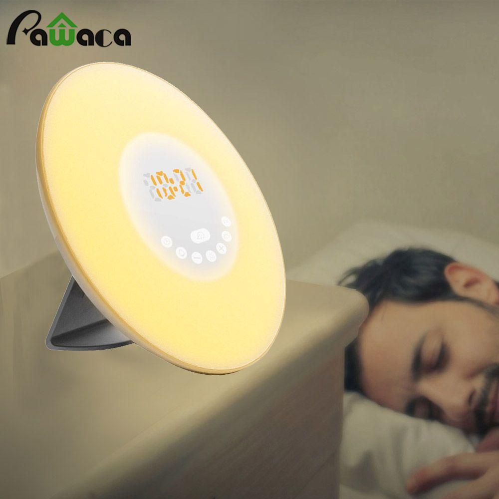 Touch Sensor Sonnenaufgang Wecker Digitales LED Zeitanzeige Morgen Aufwachen Wecker FM Radio Nachtlicht Desktop Neben lampe