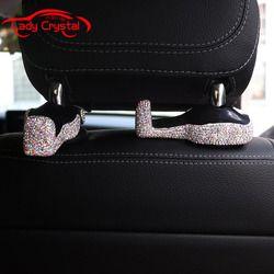 2 Pcs Diamante Mobil Sandaran Kepala Kait Kursi Belakang Hanger Penahan Kendaraan Organizer untuk Tas Tangan Dompet Mantel dan Tas Kelontong
