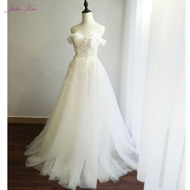 Julia Kui Simple Tulle Sweetheart A-line Wedding Dresses Off The Shoulder Beading Appliques Lace Up Floor-Length Bridal Dress