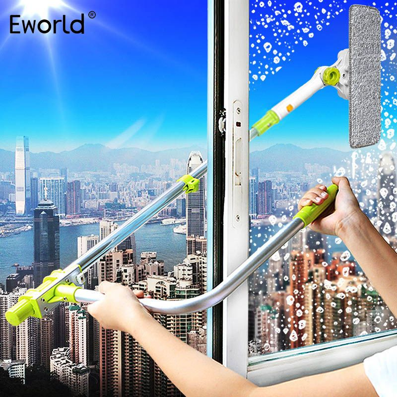 Eworld Hot Upgraded Telescopic <font><b>High</b></font>-rise Window Cleaning Glass Cleaner Brush For Washing Window Dust Brush Clean Windows Hobot