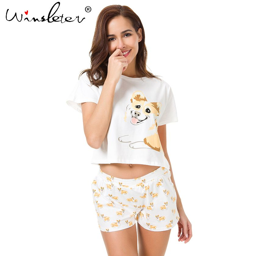 Корги пижамы Для женщин милая собака печати Растениеводство топ и шорты Комплект из 2 предметов хлопковые пижамы свободные эластичный пояс ...