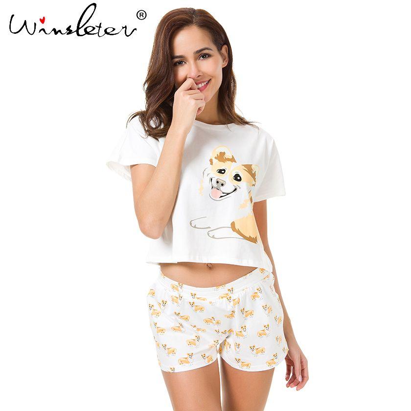 Corgi Pyjamas Femmes Mignon Chien Imprimer Crop Top + Shorts 2 Pièces Ensemble Pyjama En Coton Lâche Élastique Taille Salon pyjamas S61004