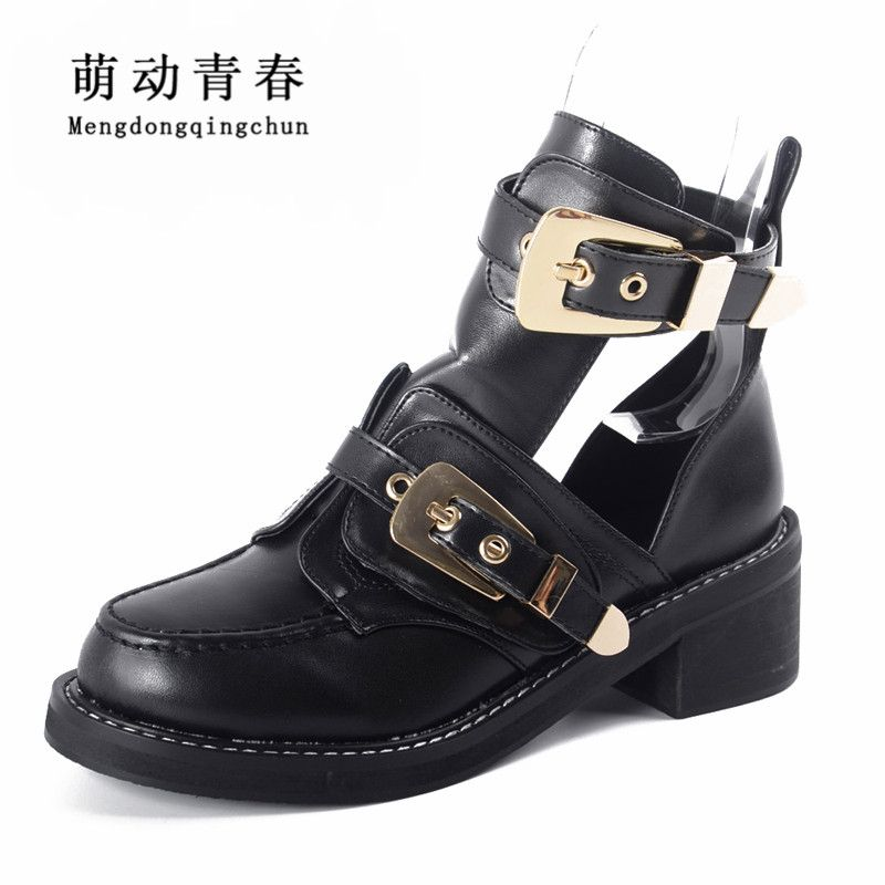 High quality 2016 Brand Luxury Summer style Women Ankle Boots heels buckle hollow leather woman shoes punk women's boots