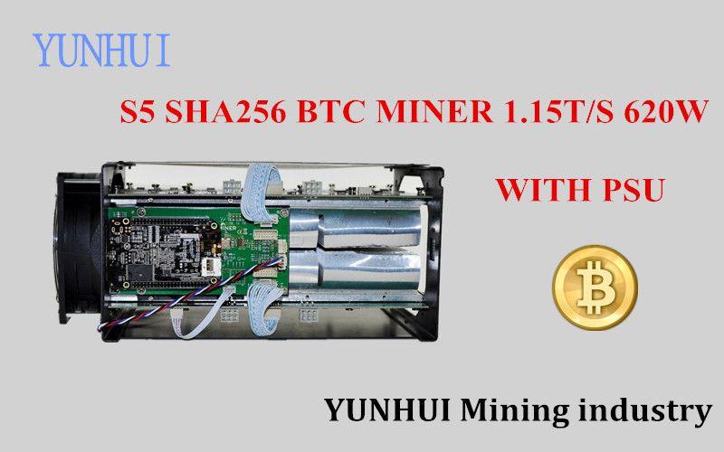 YUNHUI BTC miner Antminer Verwendet S5 1150G 28NM BM1384 Bitcoin mining maschine ASIC miner (mit netzteil)