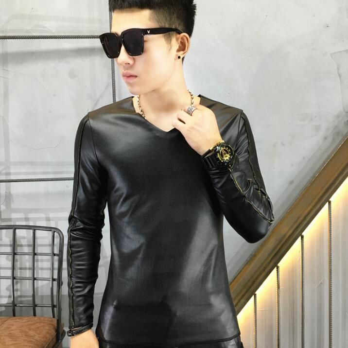 New autumn winter long-sleeved tight male tide V collar PU leather primer shirt leather t-shirt Korean Men Slim warm clothes