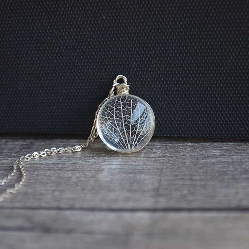 Kabbalah Tree Of Life Leaves Vein Real Flowers 925 Sterling Silver Chain Statement Necklace Women Choker Fashion Vintage Boho