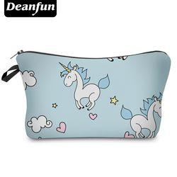 Deanfun Merek Fashion Unicorn Mode 3D Dicetak Wanita Travel Makeup Kasus Kosmetik Tas Baru H89