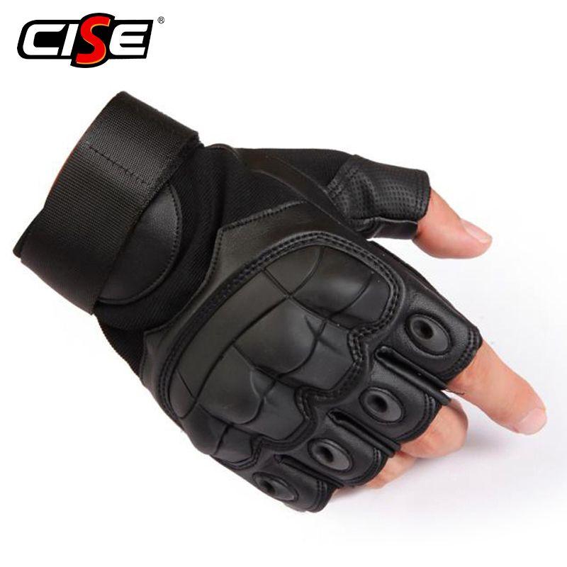 PU cuir moto sans doigts gant militaire tactique cyclisme moto Motocross Knuckle dur demi doigt équipement de protection
