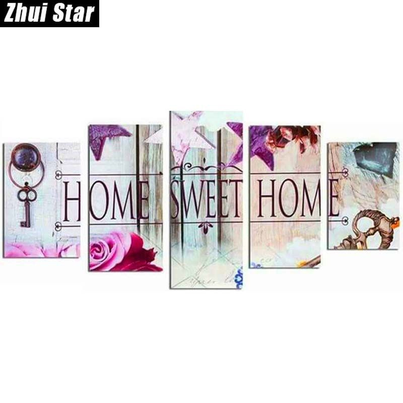 Zhui Star 5D DIY Full Square Diamond Painting Home Sweet Home Multi-picture <font><b>Combination</b></font> 3D Embroidery Mosaic Home Decor BK
