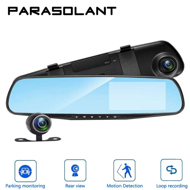 PARASOLANT Auto 4.3 Inch Rearview Mirror Digital Video Recorder Dual Lens Registratory Camcorder Full HD 1080P Car Dvr Camera