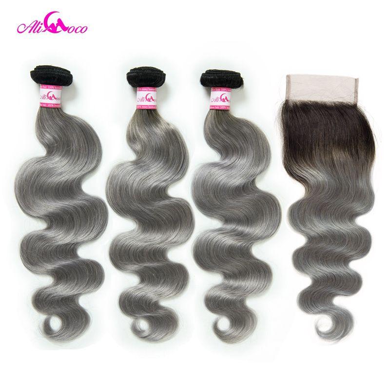 Ali Coco Brasilianische Körper Welle Bundles Mit Verschluss 1B/Grau Remy Haar 3 Bundles mit Verschluss Menschliches Haar Weben bundles