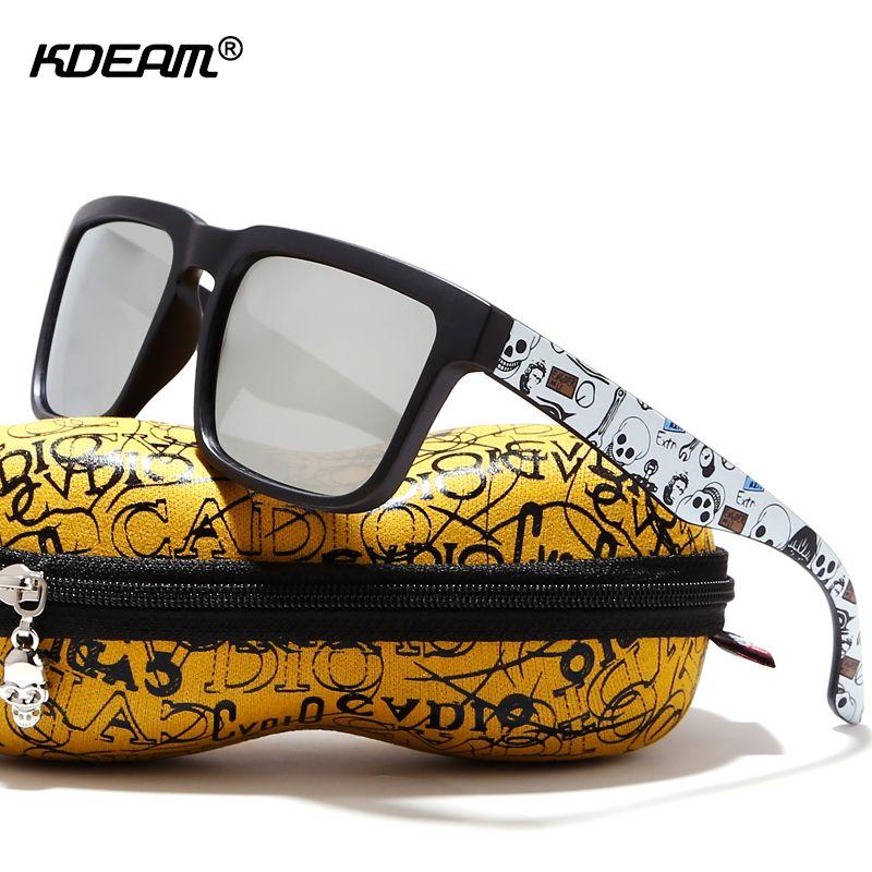 KDEAM accrocheur Fonction lunettes de Soleil Polarisées Pour Hommes Mat Cadre Noir Fit. Peinture Temples Jouer-Cool lunettes de soleil Avec Le Cas