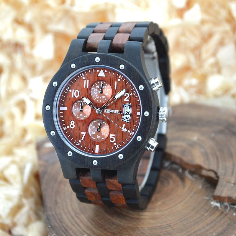 BEWELL Mens Watches Top Brand Luxury Wood Watch Men Sport Watch Chronograph Analog Digital Male Watches Dropship Supplier 109D