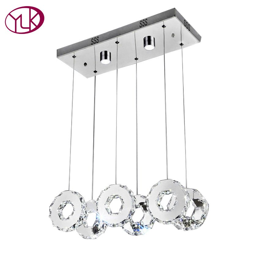 Youlaike Modern LED Chandelier For Dining Room Rectangle Kitchen Island Crystal Light Fixtures 6 Lights Hanging Cristal Lustre