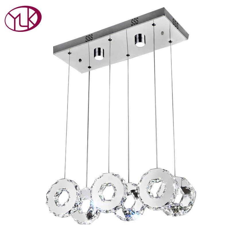 Youlaike Modern LED Chandelier For Dining Room Rectangle Kitchen Island Crystal Light Fixtures 6 Lights Hanging Cristal Lustre