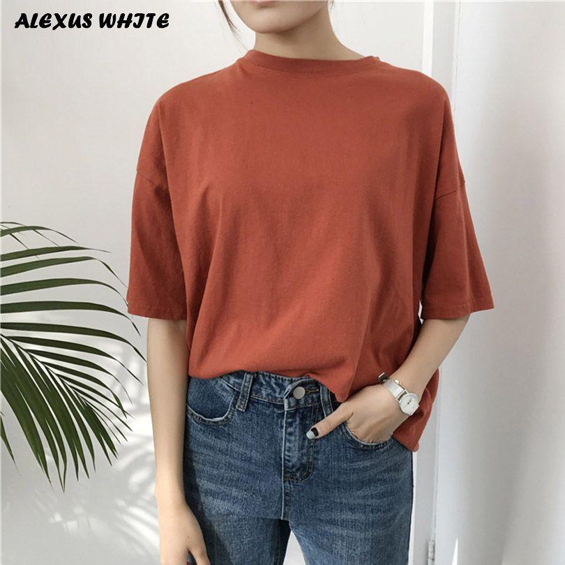 Ulzzang Harajuku T-shirt pour Femme 2019 D'été À Manches Courtes T-Shirts de Coton Tops & T-Shirts Lâche Femmes En Velours Côtelé