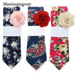 Mantieqingway 19 Colors Cotton Ties for Mens Floral Printed Tie Slim Gravatas Corbatas Fashion Wedding Business Tie Neckties
