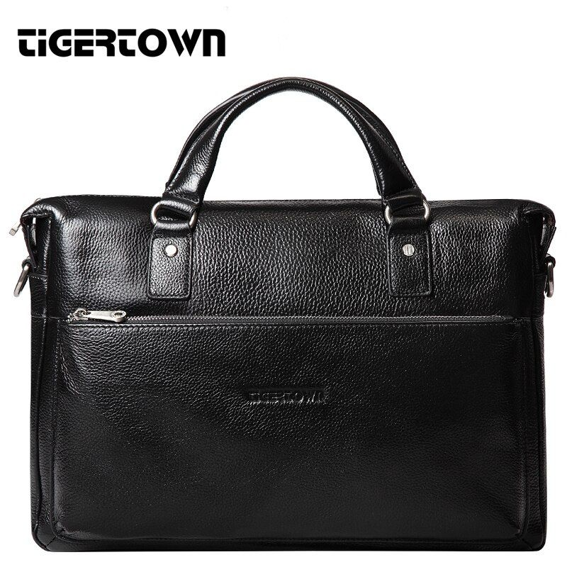 TigerTown 2018 Men's Casual Genuine Leather Real Cowhide BAG Briefcase Shoulder Purse Messenger Laptop Tote Handbag 14