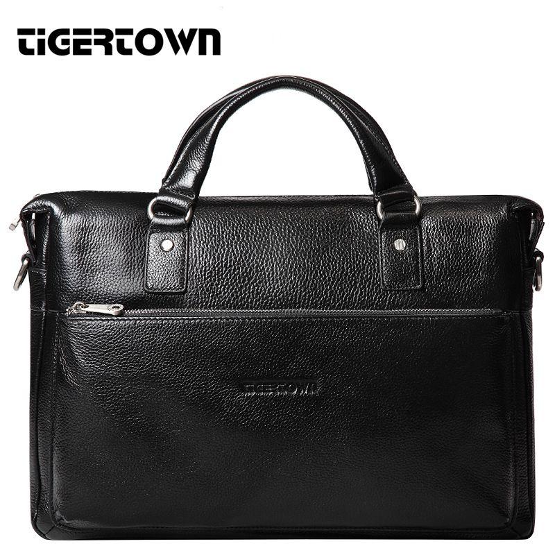 TigerTown 2018 Men's Casual Genuine Leather Real Cowhide BAG Briefcase Shoulder Purse Messenger Laptop Tote Handbag 14