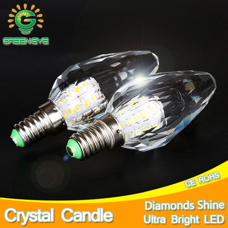 2 pcs/lot diamondscut lumière LED cristal Ampoule Lampe bougie LED Ampoule E14 7 W 220 V Cool chaud blanc Lampara Lampadina Ampoule Lampe