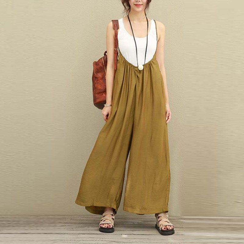 2018 ZANZEA Women Overalls Wide Leg Pants Vocation Dungarees Casual Cotton Linen Jumpsuits Long Trousers Plus <font><b>Size</b></font> S-5XL Rompers