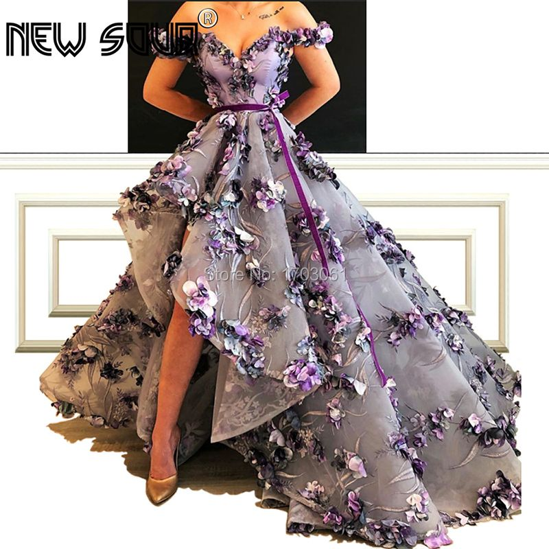Weg von der Schulter Blumen Pageant Abendkleider V Neck Dubai Arabisch Lange Spitze Formales Kleid Partei Prom Kleider Vestidos Kaftans
